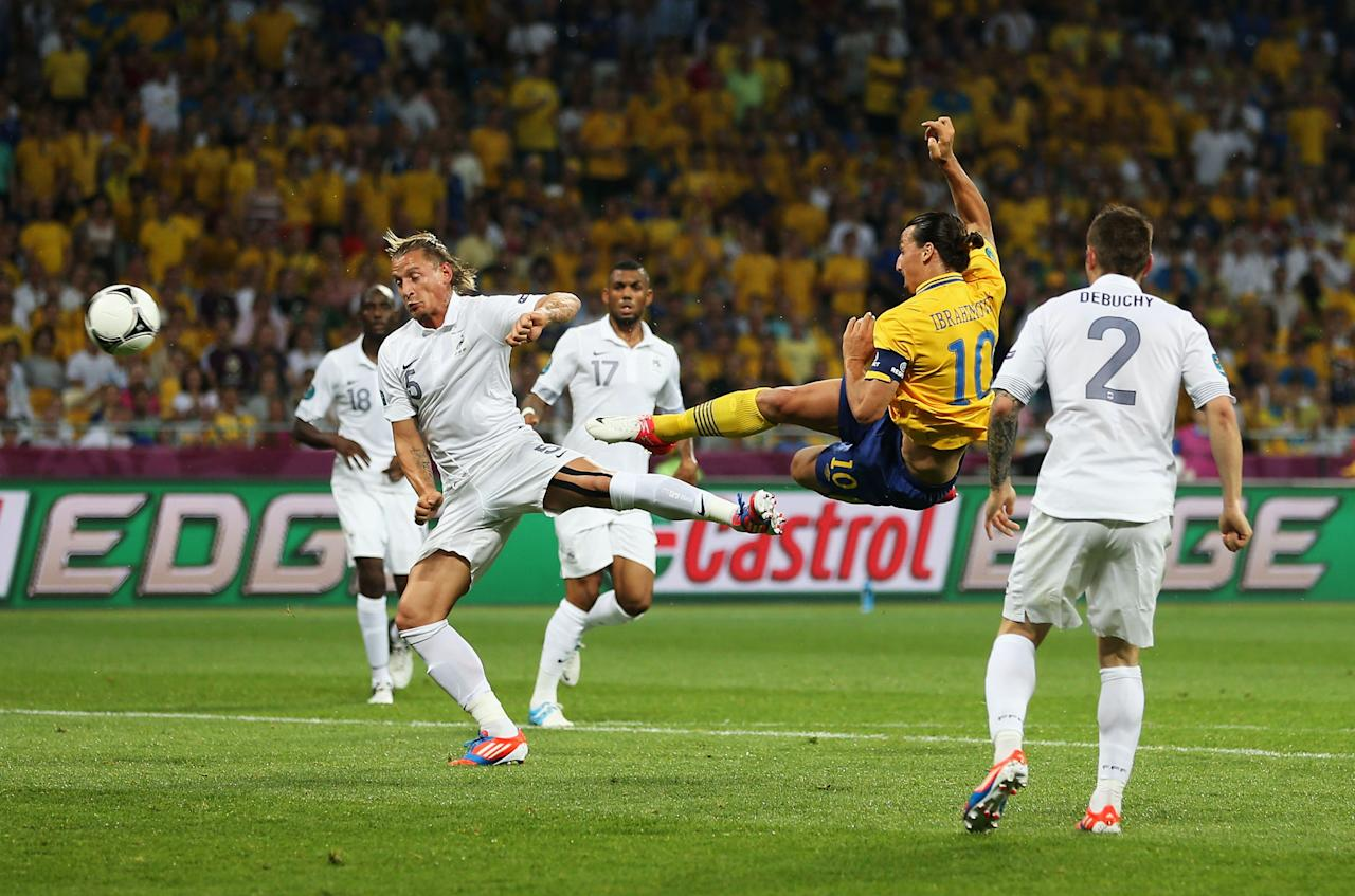 KIEV, UKRAINE - JUNE 19: Zlatan Ibrahimovic of Sweden scores the opening goal during the UEFA EURO 2012 group D match between Sweden and France at The Olympic Stadium on June 19, 2012 in Kiev, Ukraine.  (Photo by Julian Finney/Getty Images)