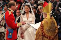 <p>The prince noticeably struggled to place Kate's wedding ring on her finger. He managed to slip it on after a few seconds, much to the relief of onlookers.</p><p>The groom decided not to receive a wedding ring and continues not to wear one to this day. </p><p>Similar to Prince William's late mother, Kate decided not to promise to 'obey' her husband in her vows. </p>