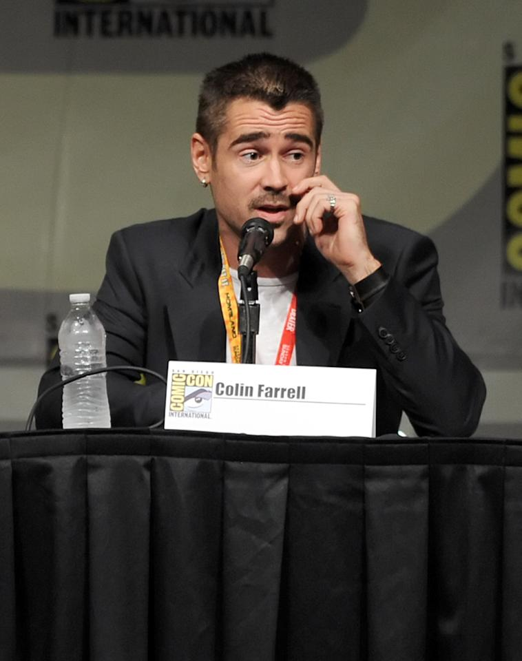 "SAN DIEGO, CA - JULY 13:  Actor Colin Farrell speaks during Sony's ""Total Recall"" panel during Comic-Con International 2012 at San Diego Convention Center on July 13, 2012 in San Diego, California.  (Photo by Kevin Winter/Getty Images)"