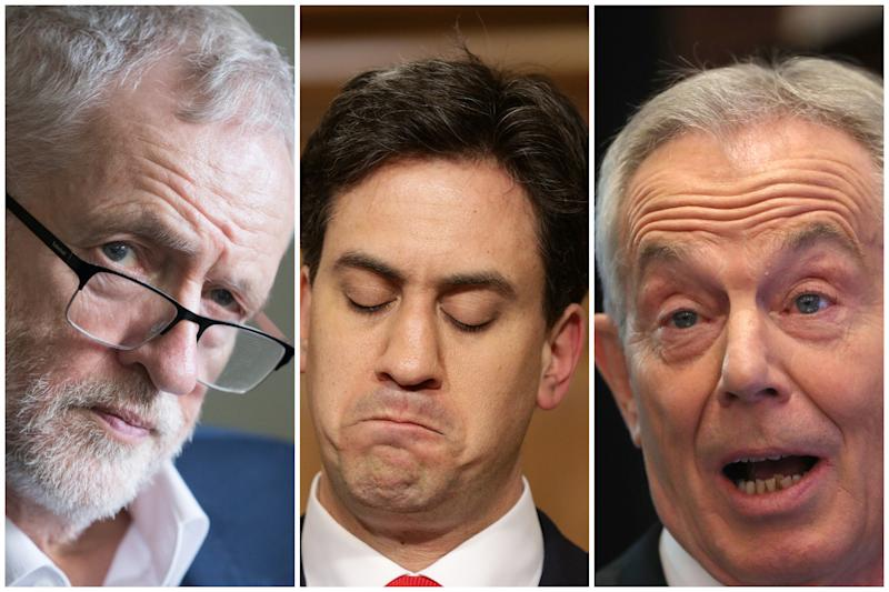 Jeremy Corbyn, Ed Miliband and Tony Blair (PA)