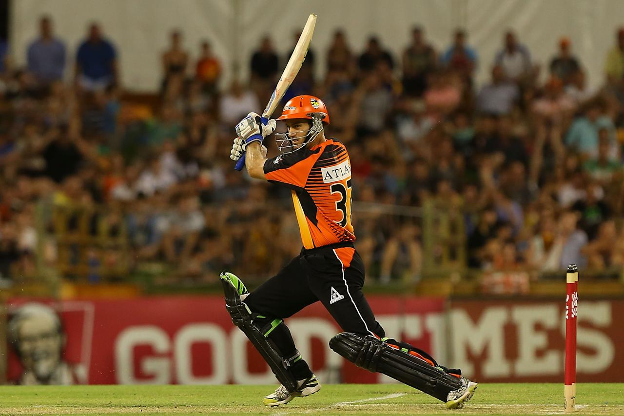 PERTH, AUSTRALIA - DECEMBER 09: Simon Katich of the Scorchers bats during the Big Bash League match between the Perth Scorchers and Adelaide Strikers at WACA on December 9, 2012 in Perth, Australia.  (Photo by Paul Kane/Getty Images)