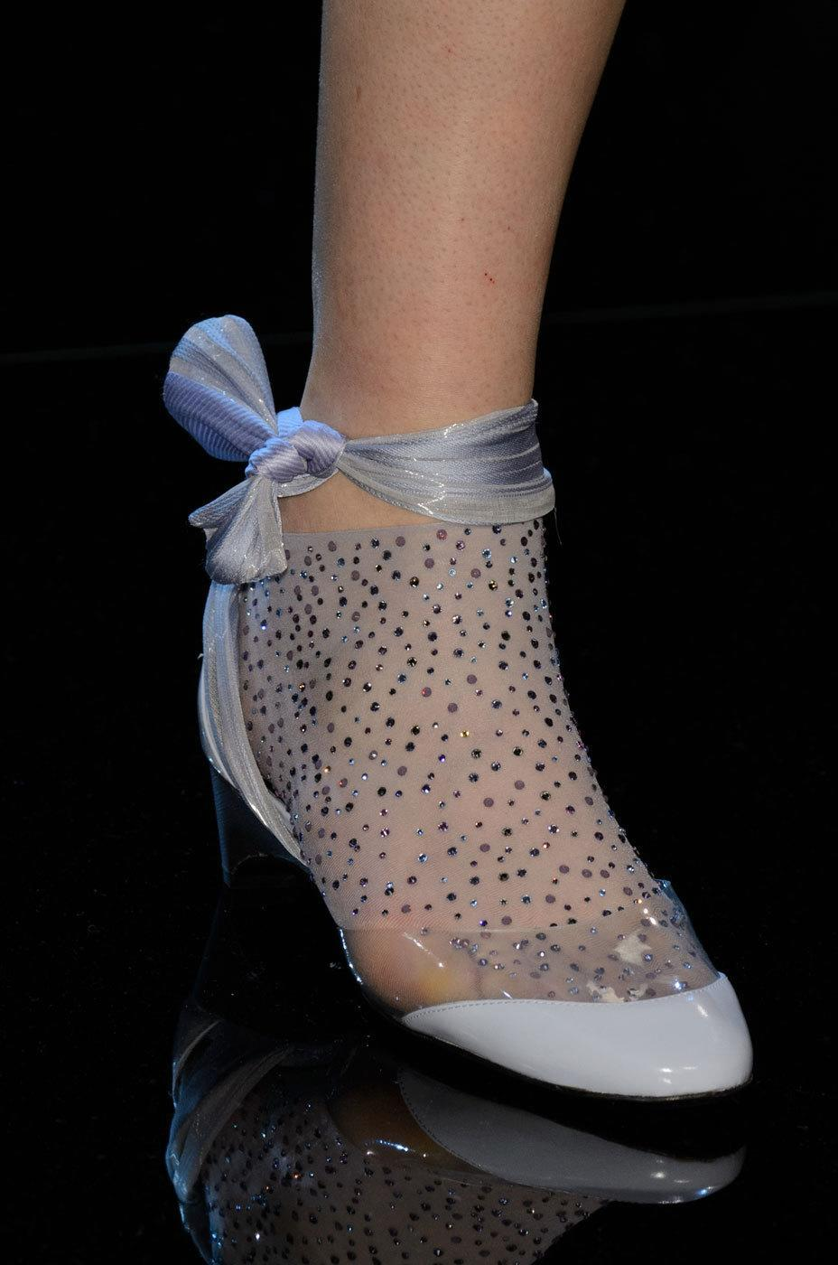 """<p>This diamante sheer sock/ribbon/jelly hybrid at <a href=""""http://www.armani.com/us/prive_section"""" rel=""""nofollow noopener"""" target=""""_blank"""" data-ylk=""""slk:Armani Privé"""" class=""""link rapid-noclick-resp"""">Armani Privé</a> is perfect for the couture princess in your life. <i>Photos: Imaxtree</i></p>"""