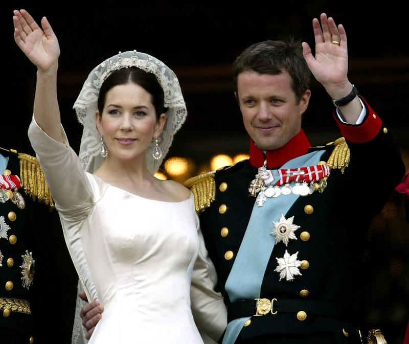 Crown Prince Frederik of Denmark marries Mary on May 14, 2004 at Copenhagen Cathedral.