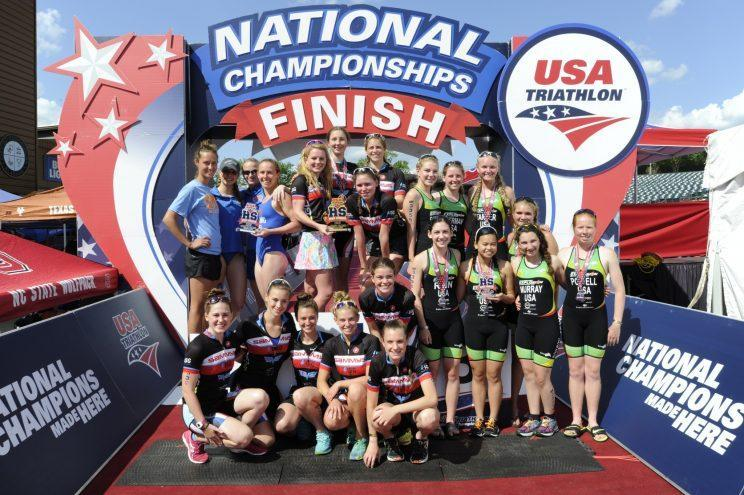 High school athletes celebrate after the 2016 High School National Championships in Birmingham, Alabama (Mario Cantu/CIMAGES).