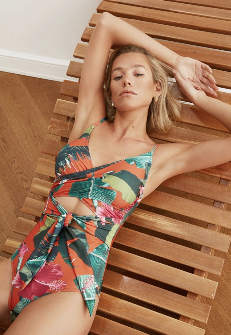 Trendyol Cut Out Printed Swimsuit