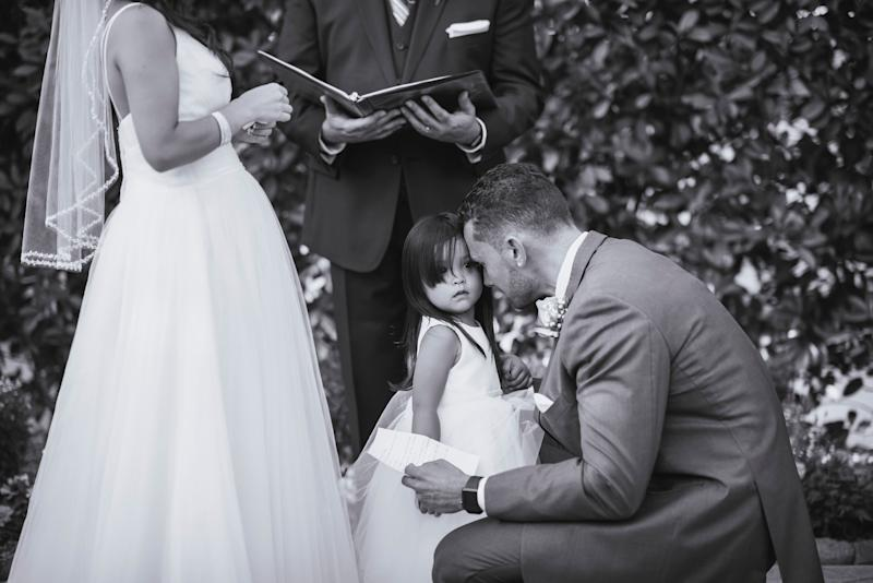 """I was ugly-crying at this moment. Backstory: Three years ago, my friend passed away before he knew he was about to become a father to this beautiful little girl. Tomás delivered his vows to Fina and her 2-year-old daughter, promising to honor her father and always be her daddy."" -- <i>Justin Haugen</i>"