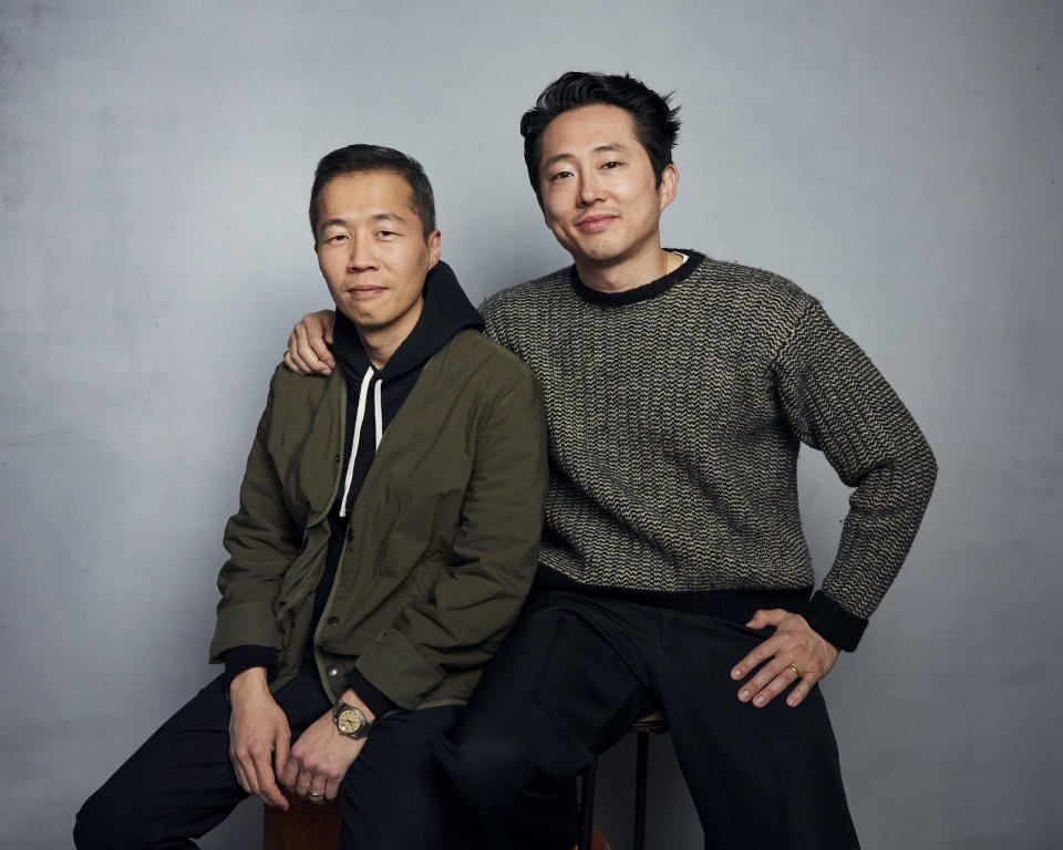 FILE- Director Lee Isaac Chung, left, and Steven Yeun pose for a portrait to promote the film