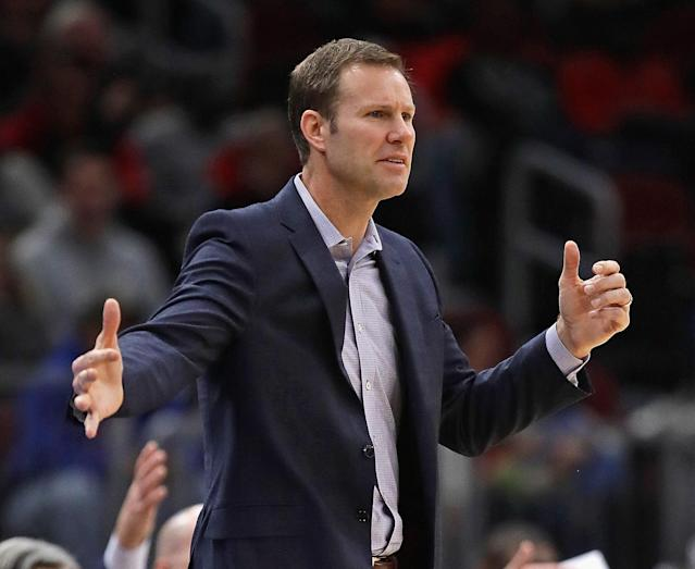 "Fred Hoiberg has been fired by the <a class=""link rapid-noclick-resp"" href=""/nba/teams/chi"" data-ylk=""slk:Chicago Bulls"">Chicago Bulls</a>. (Photo by Jonathan Daniel/Getty Images)"