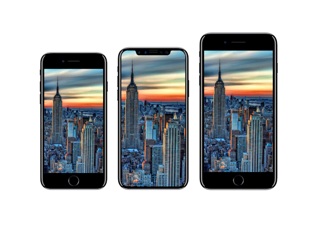 One artist's rendering showing how the iPhone 8 (center) may look, based on previous news leaks.