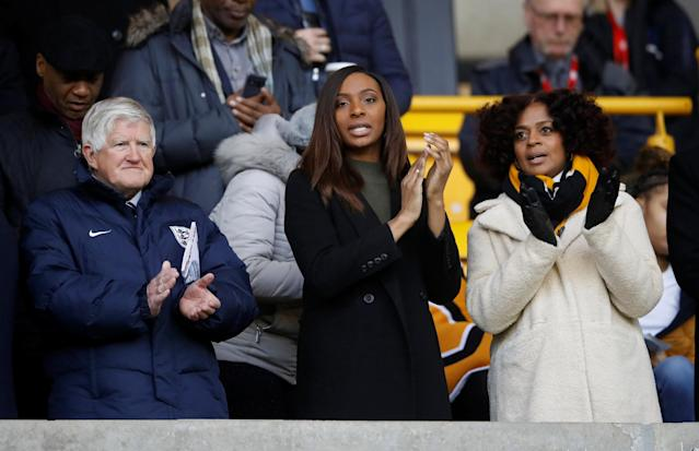 Soccer Football - Under 21 International Friendly - England vs Romania - Molineux Stadium, Wolverhampton, Britain - March 24, 2018 Julia and Michelle Regis, wife and daughter of the late Cyrille Regis Action Images via Reuters/Carl Recine