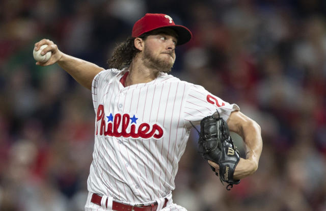 Philadelphia Phillies starting pitcher Aaron Nola took another huge step forward to become a Cy Young contender. (AP)
