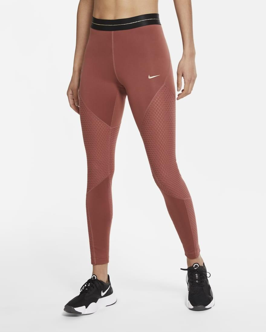 <p>Need a cold weather addition to your workout wardrobe? <span>Nike Pro Icon Clash Tights</span> ($60) are lined with fleece, come in this red clay color, and will warm you right up. Plus, they're made from sustainable materials, too.</p>