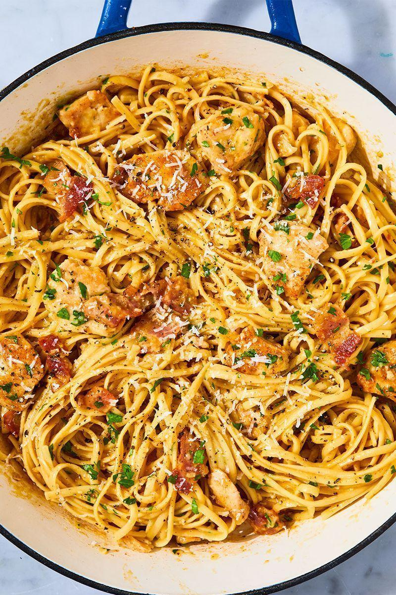 """<p>When you're looking for something comforting and carb-y, nothing fits the bill like a good carbonara. This version adds a bit of protein by way of sautéed chicken breasts, making it the perfect quick and easy weeknight dinner. No fettuccine on hand? Spaghetti, linguine, or capellini would all be great instead. Happy slurping! </p><p>Get the <a href=""""https://www.delish.com/uk/cooking/recipes/a28909109/chicken-carbonara-pasta-recipe/"""" rel=""""nofollow noopener"""" target=""""_blank"""" data-ylk=""""slk:Chicken Carbonara"""" class=""""link rapid-noclick-resp"""">Chicken Carbonara</a> recipe.</p>"""