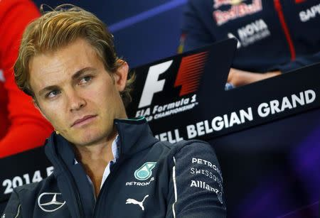 Mercedes Formula One driver Rosberg of Germany attends a news conference ahead of the weekend's Belgian F1 Grand Prix in Spa Francorchamps