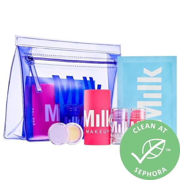 <p>The treats in this <span>Milk Makeup Day + Night Serum and Mask Face Set</span> ($39) bring bright, bouncy skin wherever the bag goes. </p>