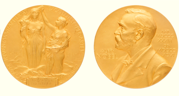 The 1935 Nobel Prize Medal that was presented to James Chadwick for his discovery of the neutron.