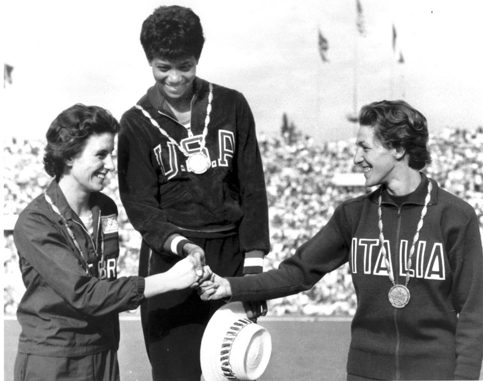 Gold-medal winner Wilma Rudolph of the U.S. at the 1960 Olympics in Rome.