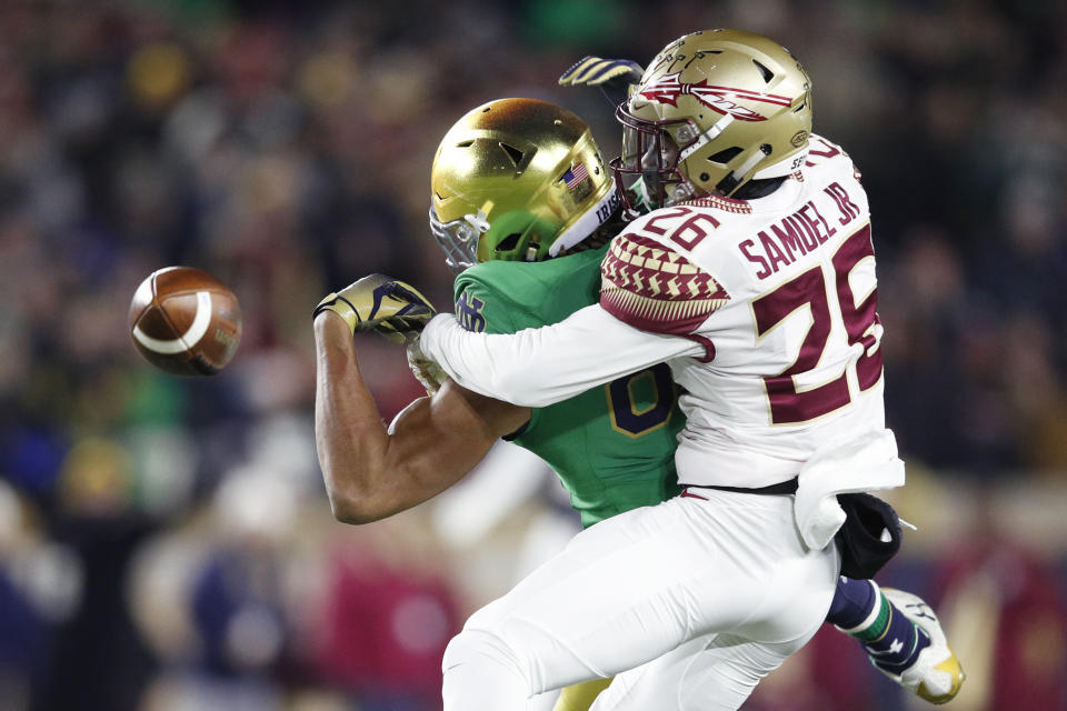 Florida State CB Asante Samuel Jr. will get physical with receivers despite his size. (Photo by Joe Robbins/Getty Images)