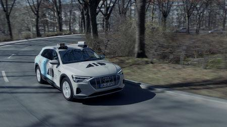 """Aeva Inc's lidar sensor is seen mounted on a self-driving test vehicle operated by AID-Autonomous Intelligent Driving GmbH, a wholly-owned subsidiary of AUDI AG and the """"center of excellence"""" for Volkswagen Group's autonomous driving system in this undated handout photo provided April 17, 2019.   Aeva Inc/Handout via REUTERS"""