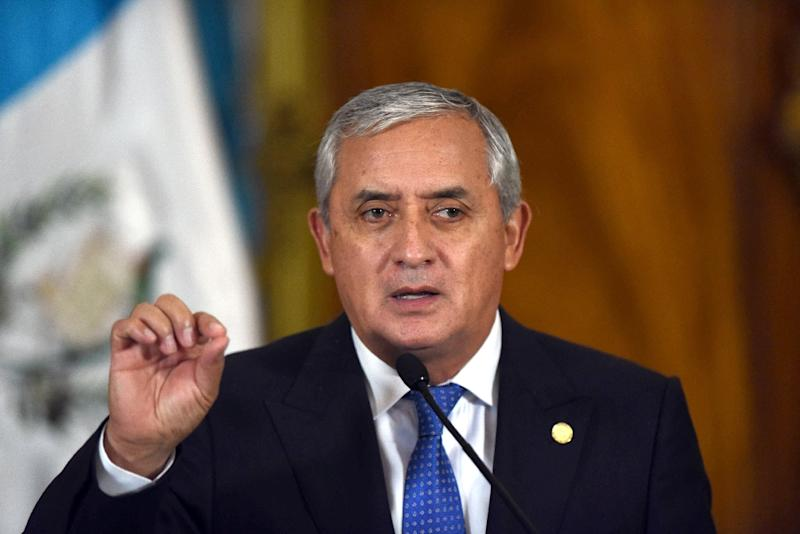 Otto Perez speaks during a press conference in Guatemala City, on August 31, 2015