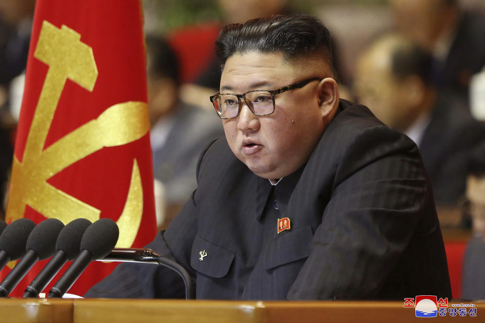 "In this photo provided by the North Korean government, North Korean leader Kim Jong Un attends a ruling party congress in Pyongyang, North Korea Wednesday, Jan. 6, 2021. North Korea's ruling Workers' Party continued its landmark Congress for a second day Wednesday, state media reported early Thursday. Independent journalists were not given access to cover the event depicted in this image distributed by the North Korean government. The content of this image is as provided and cannot be independently verified. Korean language watermark on image as provided by source reads: ""KCNA"" which is the abbreviation for Korean Central News Agency. (Korean Central News Agency/Korea News Service via AP)"