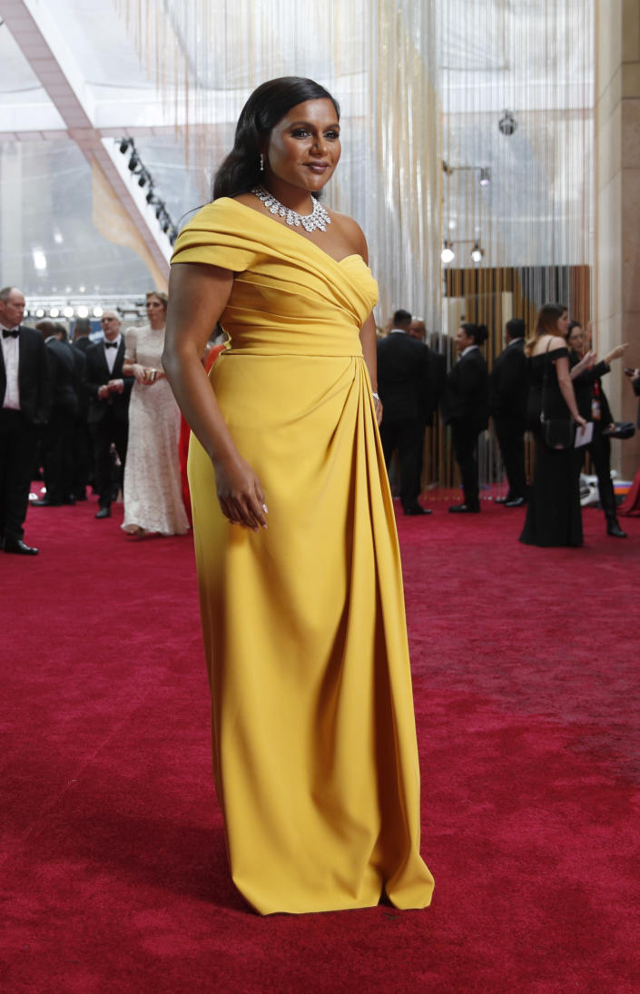 FILE - Mindy Kaling arrives at the Oscars on Feb. 9, 2020, in Los Angeles. Kaling turns 42 on June 24. (AP Photo/John Locher, File)