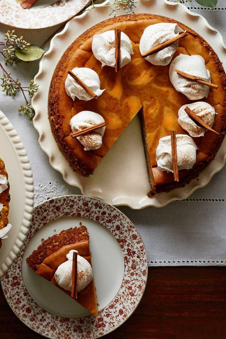 "<p>Put down the <a href=""https://www.womansday.com/food-recipes/food-drinks/a55831/homemade-pumpkin-spice-coffee-syrup-recipe/"" rel=""nofollow noopener"" target=""_blank"" data-ylk=""slk:pumpkin spice latte"" class=""link rapid-noclick-resp"">pumpkin spice latte</a> and grab a slice of <span class=""redactor-unlink"">this cheesecake</span> to satisfy all your fall-flavor cravings. </p><p><strong><em><a href=""https://www.womansday.com/food-recipes/food-drinks/recipes/a40045/spiced-pumpkin-latte-cheesecake-recipe-clx1114/"" rel=""nofollow noopener"" target=""_blank"" data-ylk=""slk:Get the Spiced Pumpkin Latte Cheesecake recipe."" class=""link rapid-noclick-resp"">Get the Spiced Pumpkin Latte Cheesecake recipe. </a></em></strong></p>"
