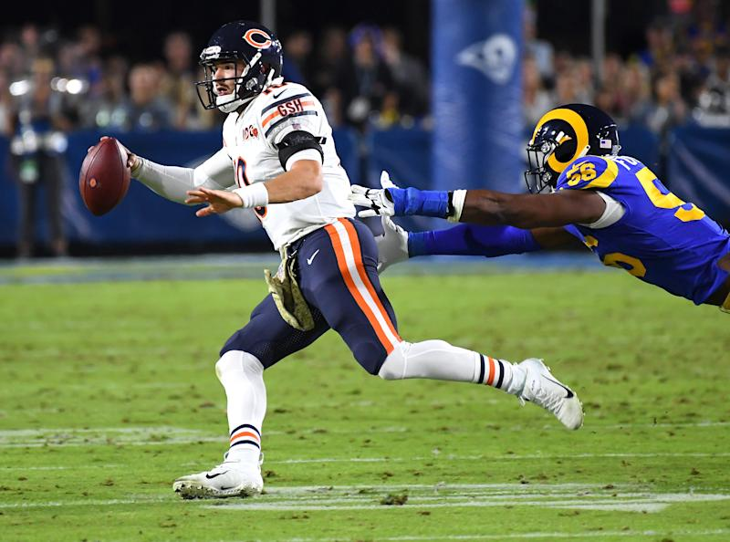 Quarterback Mitchell Trubisky was pulled out of Sunday's loss to the Rams. (Photo by Jayne Kamin-Oncea/Getty Images)