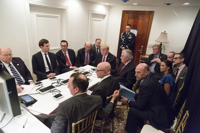 President Trump is briefed about a military strike on Syria from his national security team, April 6, 2017. (Official White House Photo by Shealah Craighead)