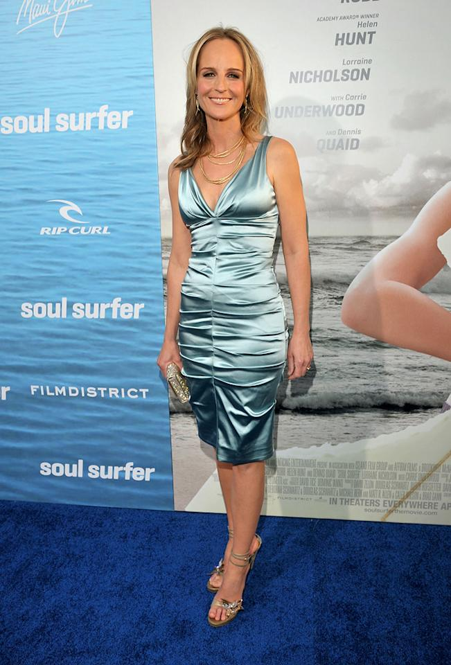 """<a href=""""http://movies.yahoo.com/movie/contributor/1800020347"""">Helen Hunt</a> attends the Los Angeles premiere of <a href=""""http://movies.yahoo.com/movie/1810145691/info"""">Soul Surfer</a> on March 30, 2011."""
