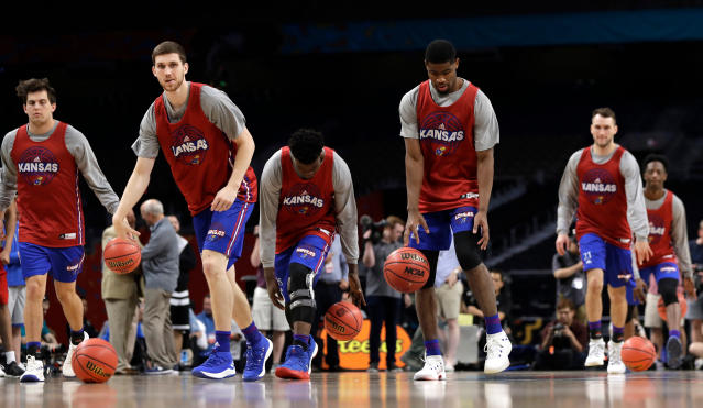 Kansas players will be rocking new kicks when they take on Villanova on Saturday thanks to a last-minute surprise from Adidas. (AP Photo)