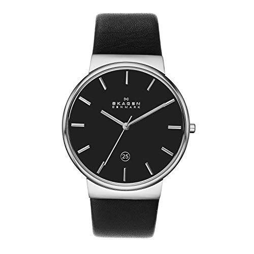 """<p><strong>Skagen</strong></p><p>amazon.com</p><p><strong>$87.00</strong></p><p><a href=""""https://www.amazon.com/dp/B00KNQWTOQ?tag=syn-yahoo-20&ascsubtag=%5Bartid%7C2139.g.36673991%5Bsrc%7Cyahoo-us"""" rel=""""nofollow noopener"""" target=""""_blank"""" data-ylk=""""slk:BUY IT HERE"""" class=""""link rapid-noclick-resp"""">BUY IT HERE</a></p><p>On the other end of the spectrum, Skagen's black and silver watch is the epitome of minimalist Scandinavian design. The soft leather band is crafted for comfort, while a date window at the 6 o'clock mark means you won't have to whip out your phone every time you need to check your calendar. </p>"""