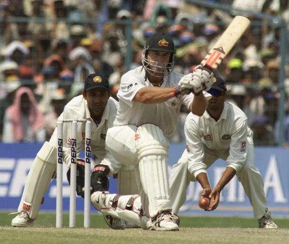 15 Mar 2001: Matthew Hayden of Australia hits out, during day five of the 2nd Test between India and Australia played at Eden Gardens, Calcutta, India. X DIGITAL IMAGE Mandatory Credit: Hamish Blair/ALLSPORT