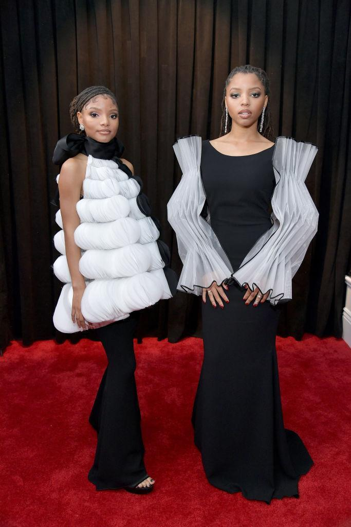 <p>Halle Bailey and Chloe Bailey of Chloe X Halle attend the 61st annual Grammy Awards at Staples Center on Feb. 10, 2019, in Los Angeles. </p>