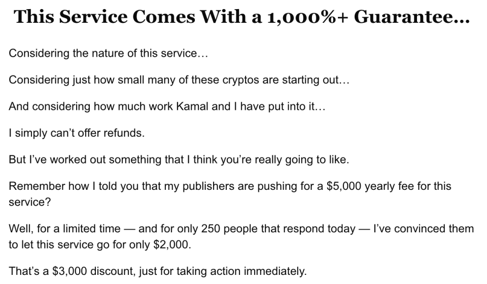 """This newsletter pitch indicates a """"1,000+"""" guarantee, but does not offer refunds. (Screenshot: Yahoo Finance)"""