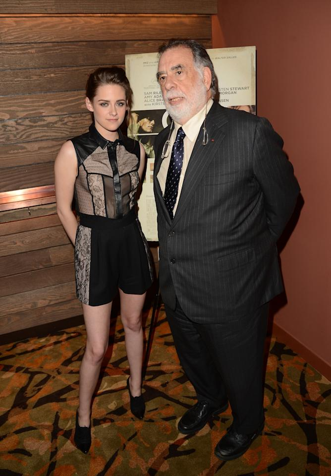 LOS ANGELES, CA - DECEMBER 06:  Actress Kristen Stewart and Director Francis Ford Coppola attend the private Los Angeles screening of 'On The Road' at Sundance Cinema on December 6, 2012 in Los Angeles, California.  (Photo by Jason Merritt/Getty Images)