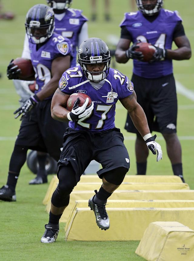 Baltimore Ravens running back Ray Rice runs a drill during a training camp practice, Thursday, July 24, 2014, at the team's practice facility in Owings Mills, Md. (AP Photo)