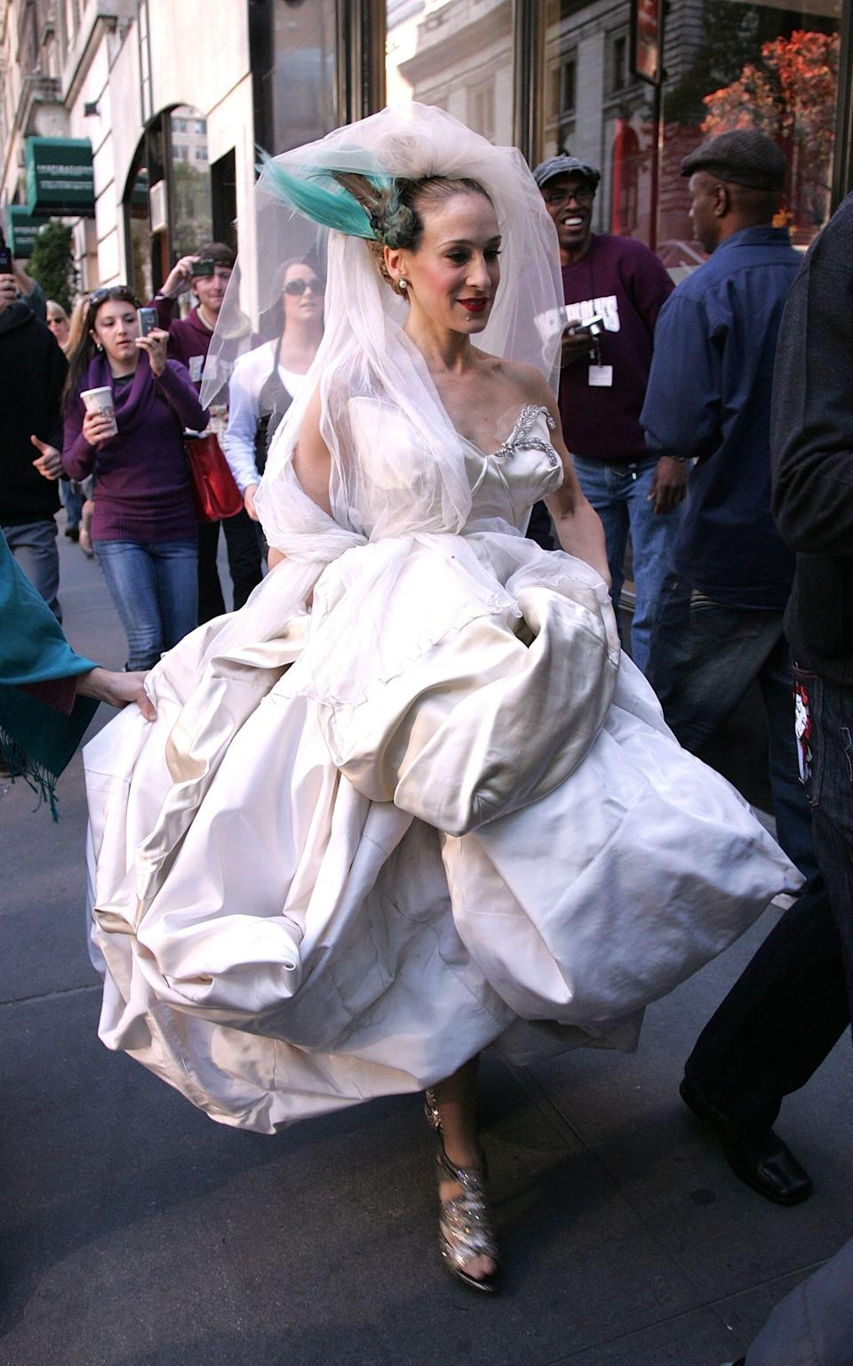 Carrie Bradshaw in her Vivienne Westwood wedding dress - Getty Images