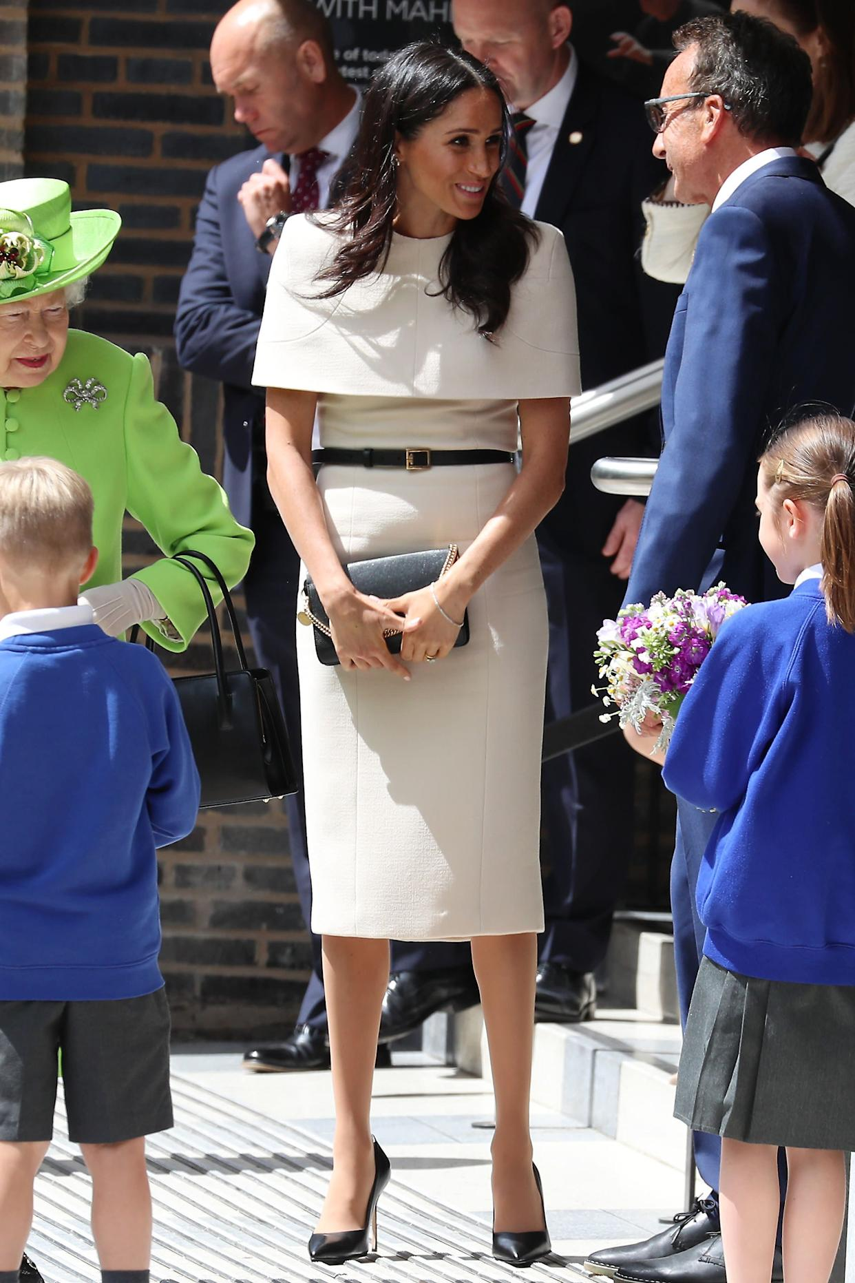 Meghan, Duchess of Sussex, leaves the Storyhouse Chester on June 14 in Chester, England.