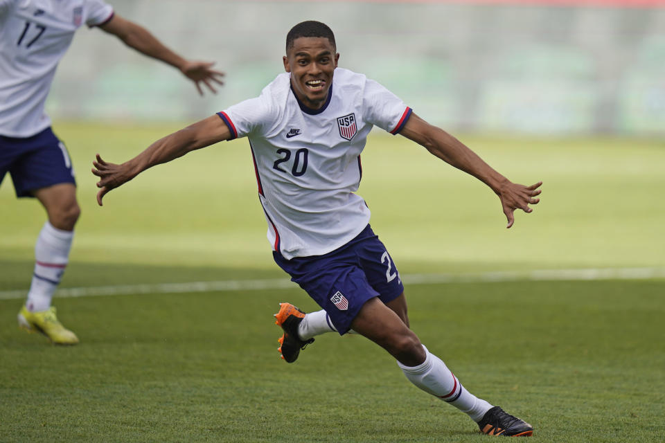 United States Reggie Cannon (20) celebrates after scoring against Costa Rica in the second half during an international friendly soccer match Wednesday, June 9, 2021, in Sandy, Utah. (AP Photo/Rick Bowmer)