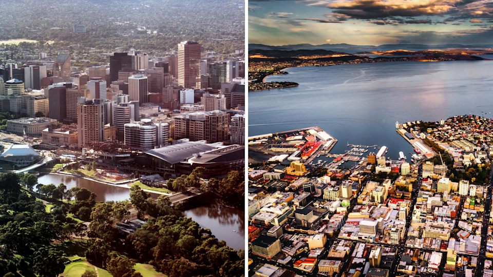 Left: Adelaide; right: Hobart. (Source: Getty)
