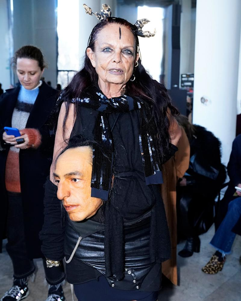 Michèle Lamy, seen here with a perfect replica of her husband Rick Owens' head, knows that the best accessory is true love.