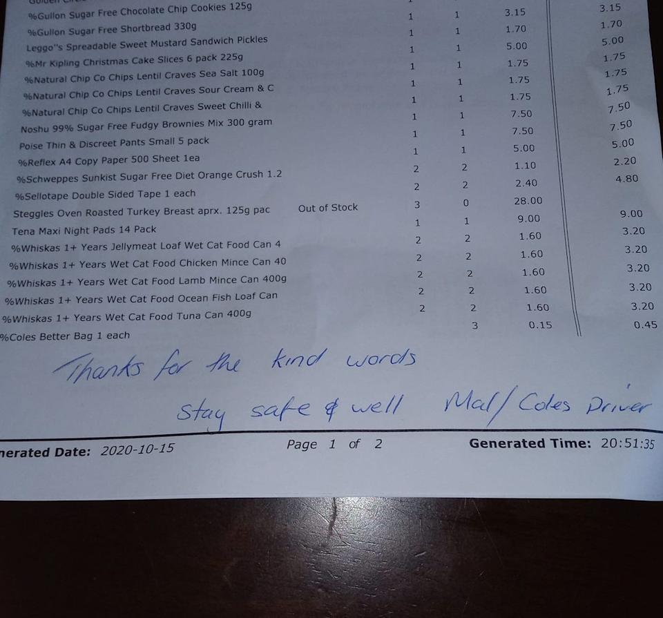 A picture of the Coles invoice with the written note.