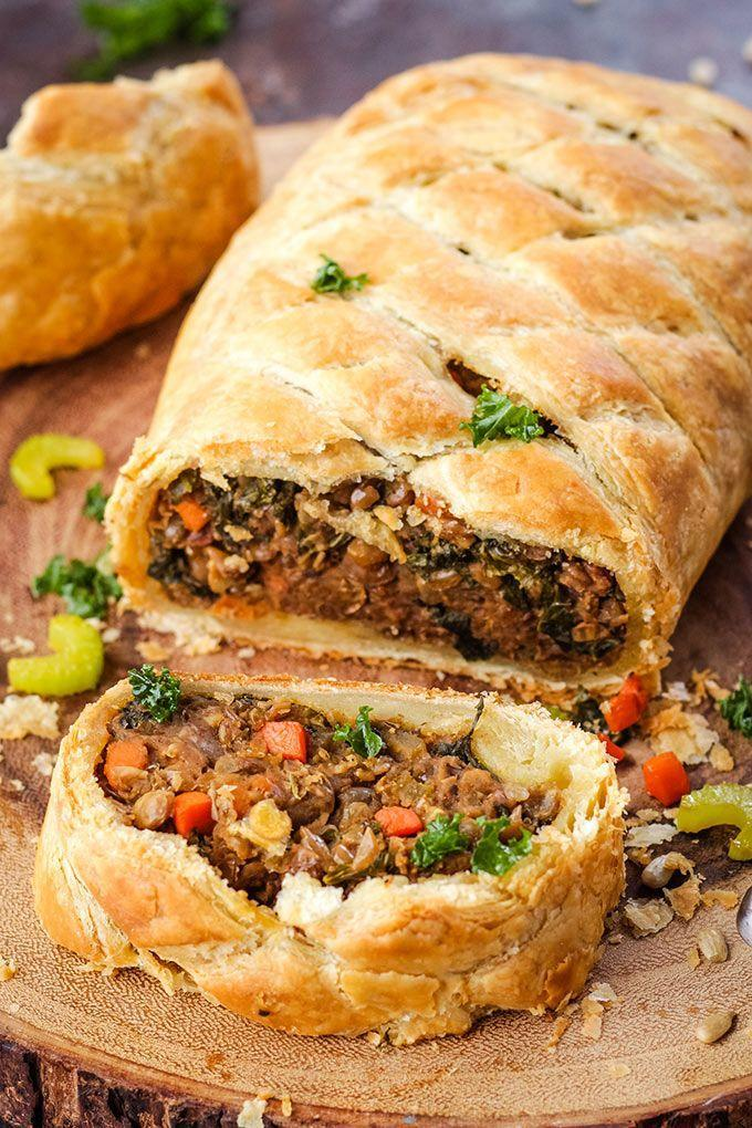 "<p>Your guests will do a double-take when you unveil this classic British dish at the center of your table. Instead of filling the puff pastry with beef, you'll whip up a tasty stew of lentils, veggies, and sunflower seeds.</p><p><em><a href=""https://www.karissasvegankitchen.com/vegan-wellington/"" rel=""nofollow noopener"" target=""_blank"" data-ylk=""slk:Get the recipe from Karissa's Vegan Kitchen »"" class=""link rapid-noclick-resp"">Get the recipe from Karissa's Vegan Kitchen »</a></em></p>"