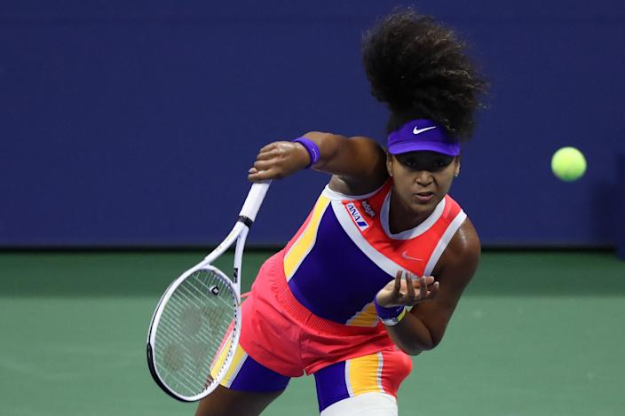 Naomi Osaka beat Anett Kontaveit in straight sets on Sunday night to reach the quarterfinals at the US Open. (Matthew Stockman/Getty Images)