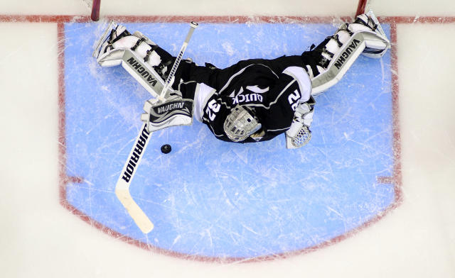 Los Angeles Kings goalie Jonathan Quick blocks a shot by the Los Angeles Kings during the second period in Game 2 of a second-round NHL hockey Stanley Cup playoff series, Thursday, May 16, 2013, in Los Angeles. (AP Photo/Mark J. Terrill)