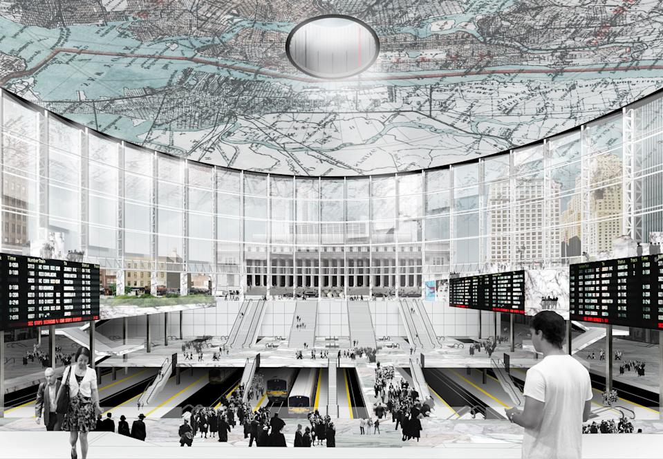 Architect Vishaan Chakrabarti's has proposed repurposing the space where Madison Square Garden is to open up the waiting area, access to the tracks and incorporating floor-to-ceiling windows to bring in natural light. The glassed in wall also provides commuters with a sense of direction as Moynihan Train Hall can be seen here across Eighth Avenue. This proposal, however, hinges on the famed arena moving to a new location.