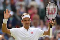 Switzerland's Roger Federer celebrates after beating South Africa's Lloyd Harris during their men's singles first round match on the second day of the 2019 Wimbledon Championships at The All England Lawn Tennis Club in Wimbledon, southwest London, on July 2, 2019. (Photo by Glyn Kirk/AFP/Getty Images)
