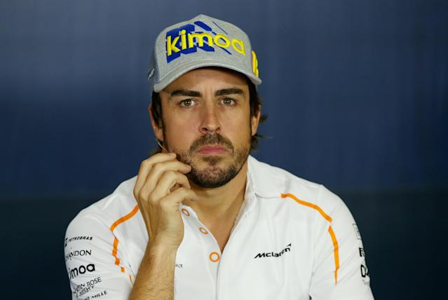 Formula One F1 - Spanish Grand Prix - Circuit de Barcelona-Catalunya, Barcelona, Spain - May 10, 2018 McLaren's Fernando Alonso during a press conference ahead of the Spanish Grand Prix REUTERS/Albert Gea