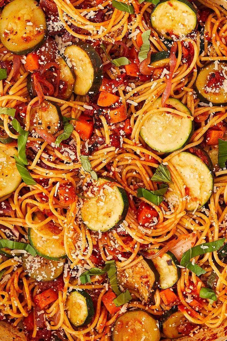 """<p>Vegetable <a href=""""https://www.delish.com/uk/cooking/recipes/a28841234/three-ingredient-spaghetti-recipe/"""" rel=""""nofollow noopener"""" target=""""_blank"""" data-ylk=""""slk:spaghetti"""" class=""""link rapid-noclick-resp"""">spaghetti</a> is the perfect way to use up leftover veggies. Use whatever you have on hand, don't feel married to these specific ones. They are just a good starting point.</p><p>Get the <a href=""""https://www.delish.com/uk/cooking/recipes/a30604939/vegetable-spaghetti-pasta-recipe/"""" rel=""""nofollow noopener"""" target=""""_blank"""" data-ylk=""""slk:Vegetable Spaghetti"""" class=""""link rapid-noclick-resp"""">Vegetable Spaghetti</a> recipe.</p>"""